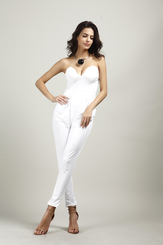 Комбинезоны женские s комбинезон сексуальные белые черные тонкие брюки боди без рукавов без бретелек женские jumspuit Macacao Feminino комбинезоны - Цвет: White