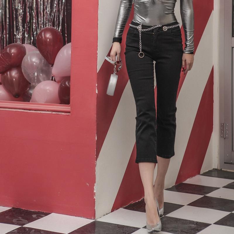 Bassa 2018 Progettato Cotone Elasticizzato Pantaloni Moda Catena Decorazione Slim Spring Nero Di Il lunghezza Donna Tipo Tessuto Vita Vitello x1v14A0rqn