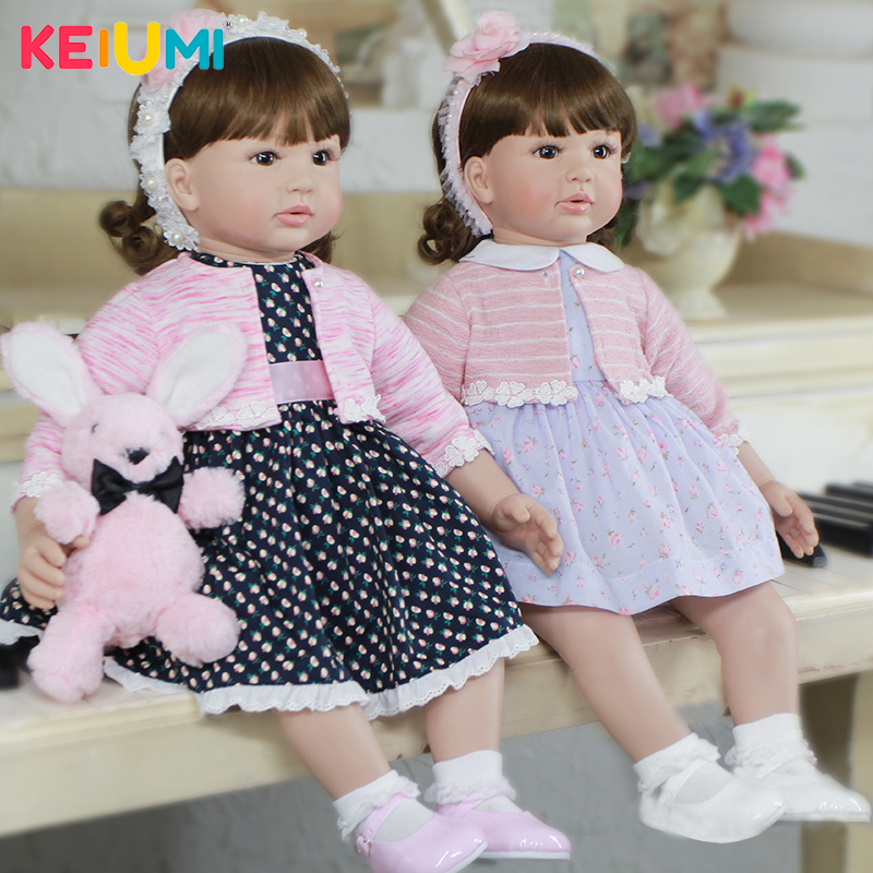 KEIUMI Lifestyle 22 inch Silicone Doll Baby Reborn DIY Hairstyle Lifelike Princess Reborn Dolls Babies 55 cm Girl Birthday Gifts keiumi 23 babies girl reborn baby doll full body silicone vinyl realistic 57 cm princess new born boneca reborn boneca gifts