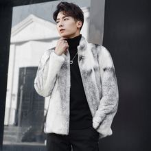 Genuine mink fur jacket men real fur coat marten clothing male cross mink NPI 80119G