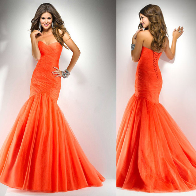 Beautiful mermaid tulle 2013 free shipping sweetheart ruffle strapless classic floor length party dresses prom dress