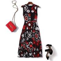 Women girls floral print silk summer dress sleeveless pleated long dresses new 2019 spring black