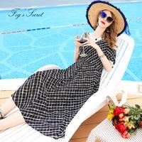 Women Summer Dresses Loose Plus size Black Sexy Shoulder V neck Plaid gothic dress Long vestidos casuais robe femme 2019