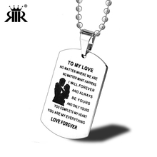 93436ac62c RIR Stainless Steel Lovers Pendant Necklace To My Love Couple Jewelry  Necklaces Military Army Dog Tags ...