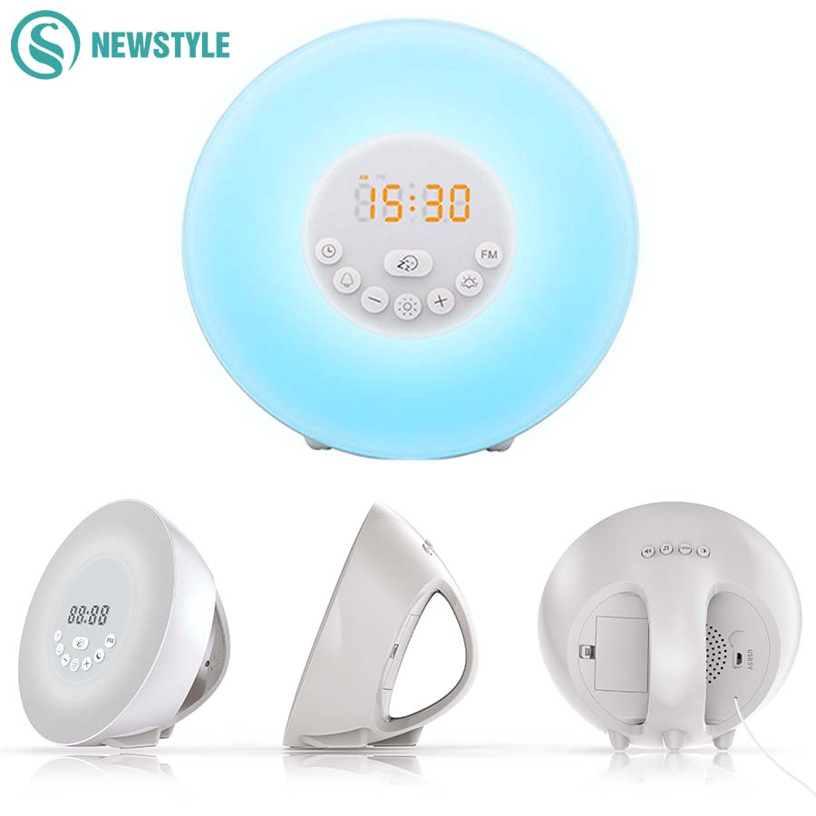 LED Alarm Clock Digital Radio Bedroom LED Night Light Sunrise Wakeup Night Lamp Color Changing Atmosphere Light For Home Bedside wake up night light alarm clock sunrise simulation dusk fading night light with nature sounds fm radio touch control usb charger