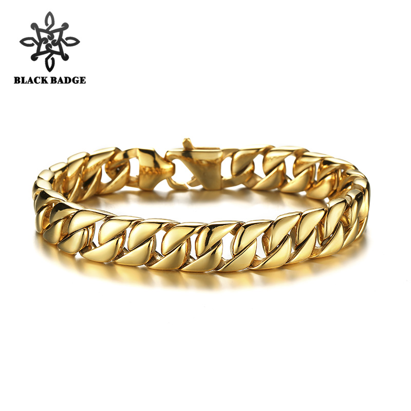 Polished Curb Cuban Link 316L Stainless Steel Gold/Silver Bracelet Top Men Hip Hop Men Jewelry Stainless Steel Bio Elements shiying jz014 men s stylish 316l stainless steel ring silver
