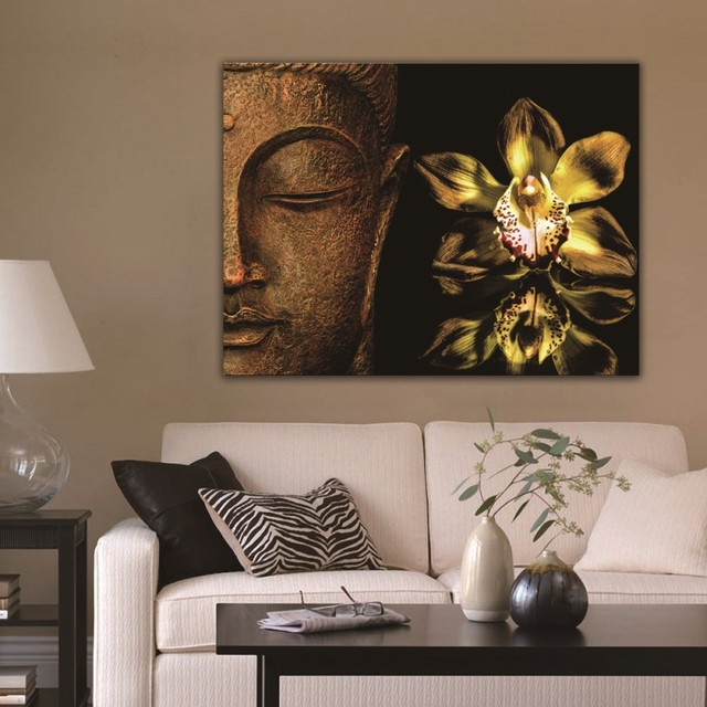 Abstract Buddha Lotus Painting Modern Home Decor Canvas Print Wall Art Picture For Living Room