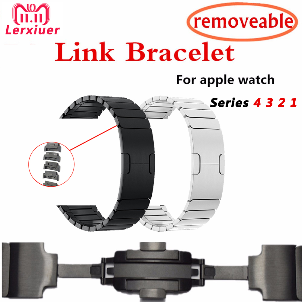 Link Bracelet Band For Apple Watch series 4 44mm 40mm iwatch bands 3/2/1 42mm/38mm Stainless Steel strap Removable wrist belt sinobi lady s stainless steel band quartz wrist watch w 3 watch bands cases silver 1 x 626