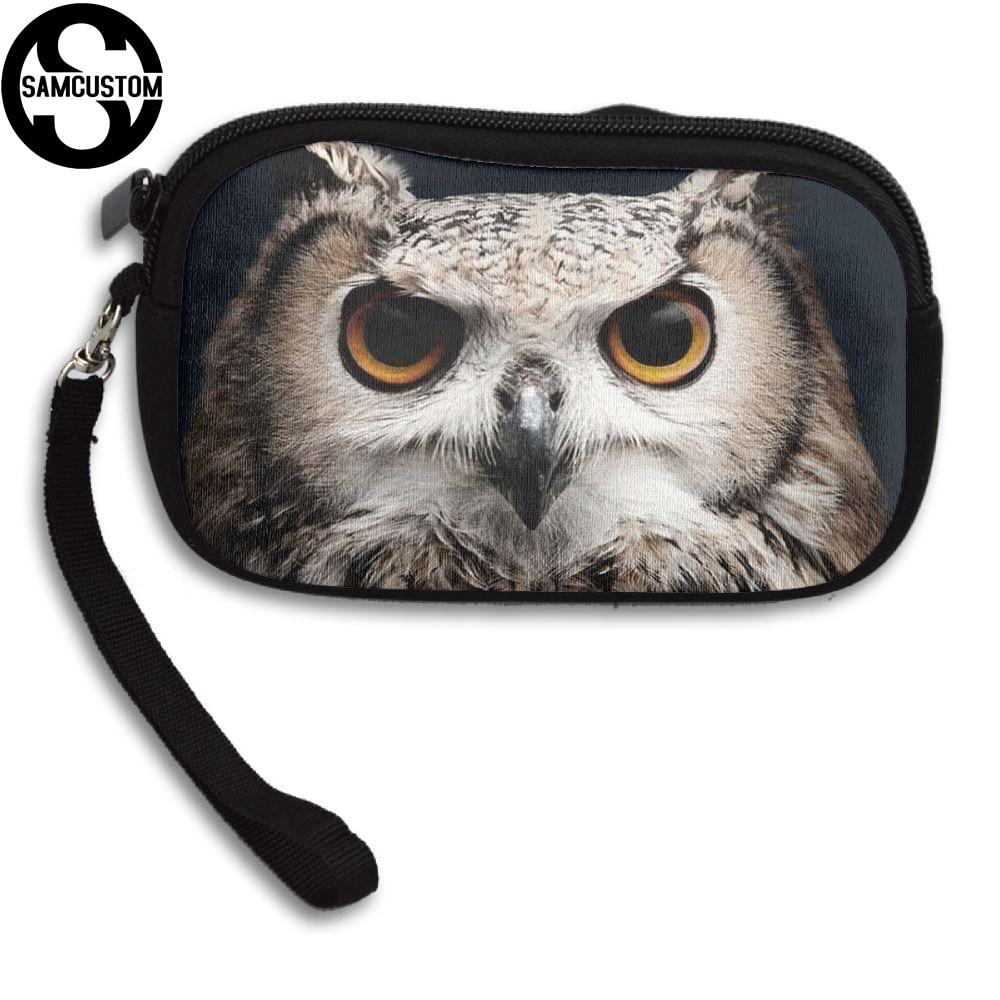 SAMCUSTOM Custom owl cute 3D Print New Womens small purse male and female Small wallet Fashion Casual Girl Coin Purse
