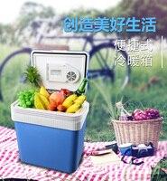 2 1 미니 홈 자동차 냉장고 24l 12 v 220 v 미니 냉장고 차가운 따뜻한 듀얼 사용 쿨러 박스 홈 자동차 냉장고