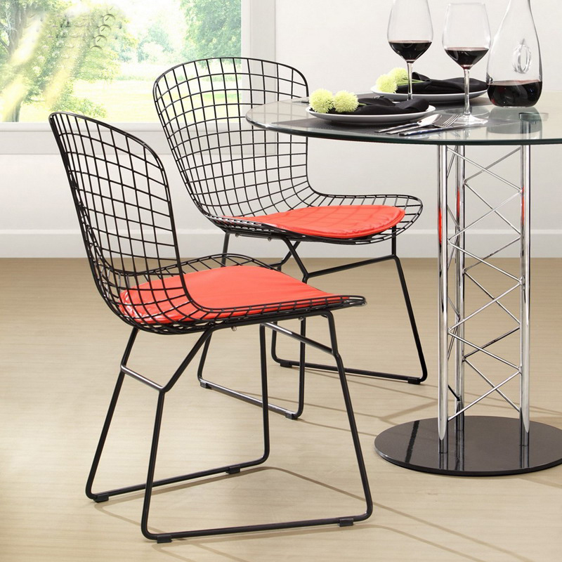 Modern Classic Black White Powder coating Harry Bertoia Wire Padded Chair Steel Wire Side Chair Colored Metal Cafe Chair-2PCS steel hotel chair luyisi103025s commercial fabric powder coating finish 5pcs carton safe package