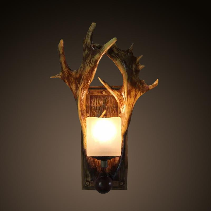 2017 Nordico Retro Wall Lamp American Country Wall Light Resin Deer Horn Antler Lampshade Decoration Sconce 110 240V New Year
