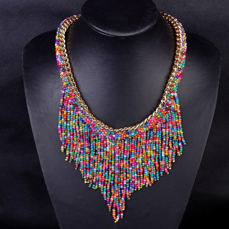 New Bohemian Necklaces Women Handmade Collier Femme Long