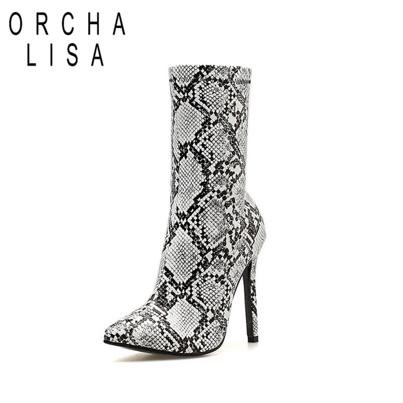 ORCHA LISA Women Sexy high heel ankle Boots snake PU Western Boots stiletto heel Chelsea booties ladies botte femme C988