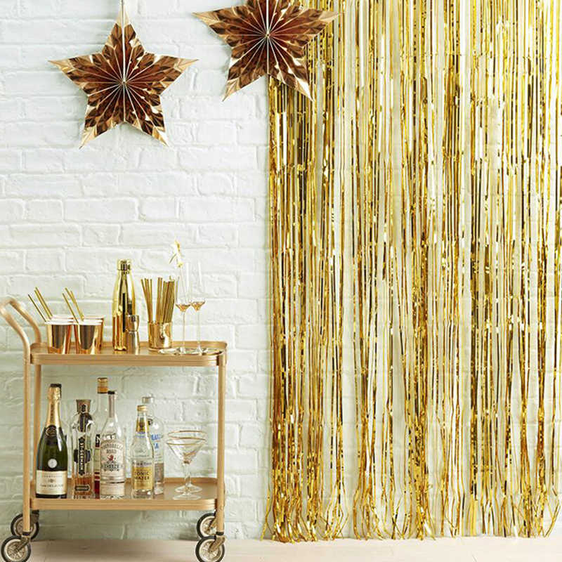 3M Gold Party Backdrop Foil Fringe Tinsel Curtain Birthday Party Decoration Adult Curtains Wedding Backdrop Halloween Decoration