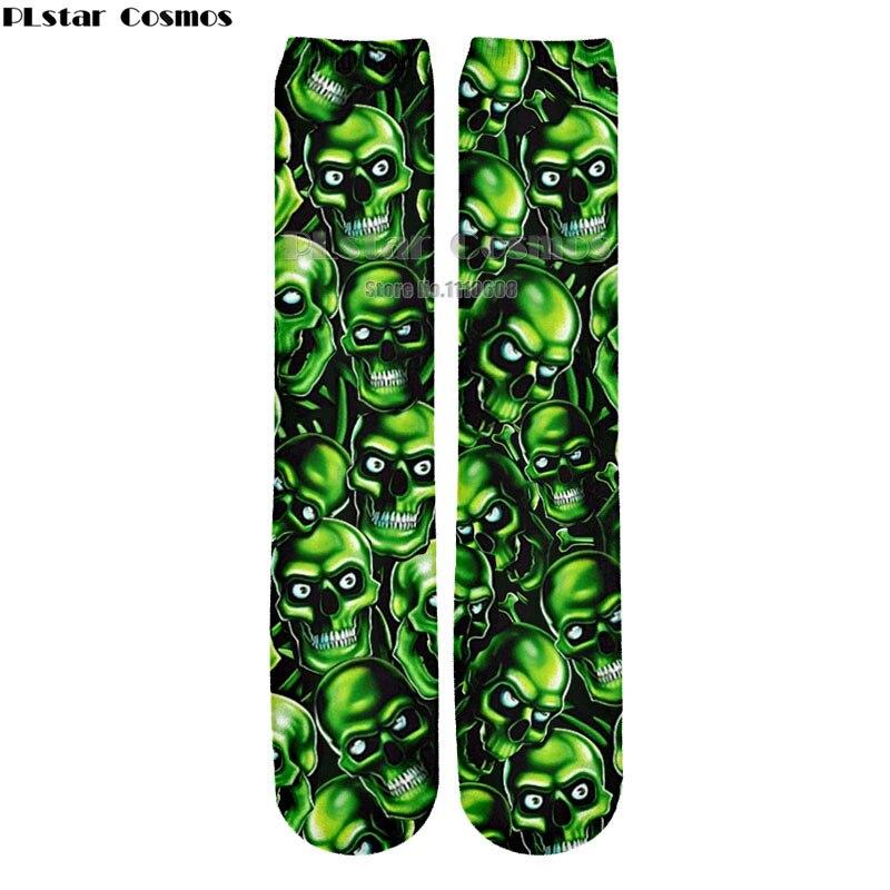 PLstar Cosmos 2018 Newest Men women Long Cotton Socks green Skull  Super Hero Deadpool Classic Man Stocking Hot Sale