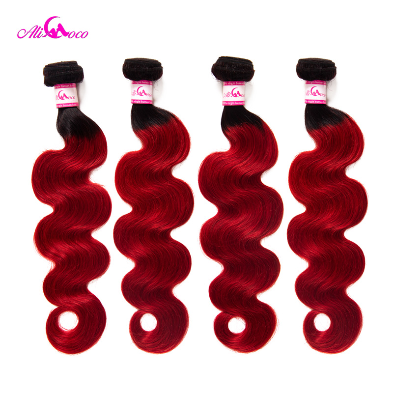 Brazilian 4 Body Wave Human Hair Weaves Bundles And Deals 1B Red Color 12 30 Inch
