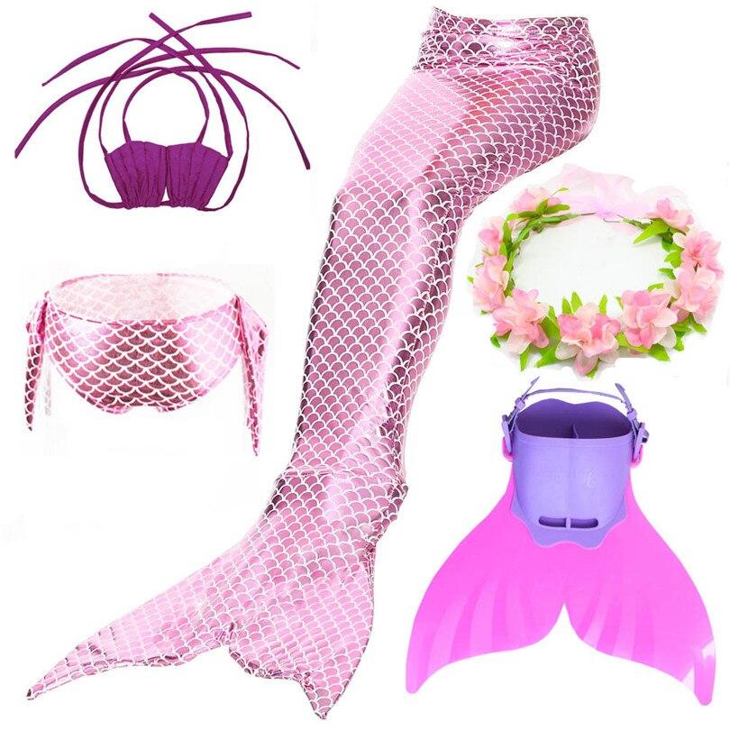 Kids Children Mermaid Swimming Tail Swimsuit Summer swim dress cosplay Costumes mermaid tails With monofin Swimwear for Girls