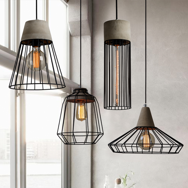 Nordic iron cement pendant lamps Creative Personality Bar Cafe Retro Loft Industrial Wind Cement lights цена и фото