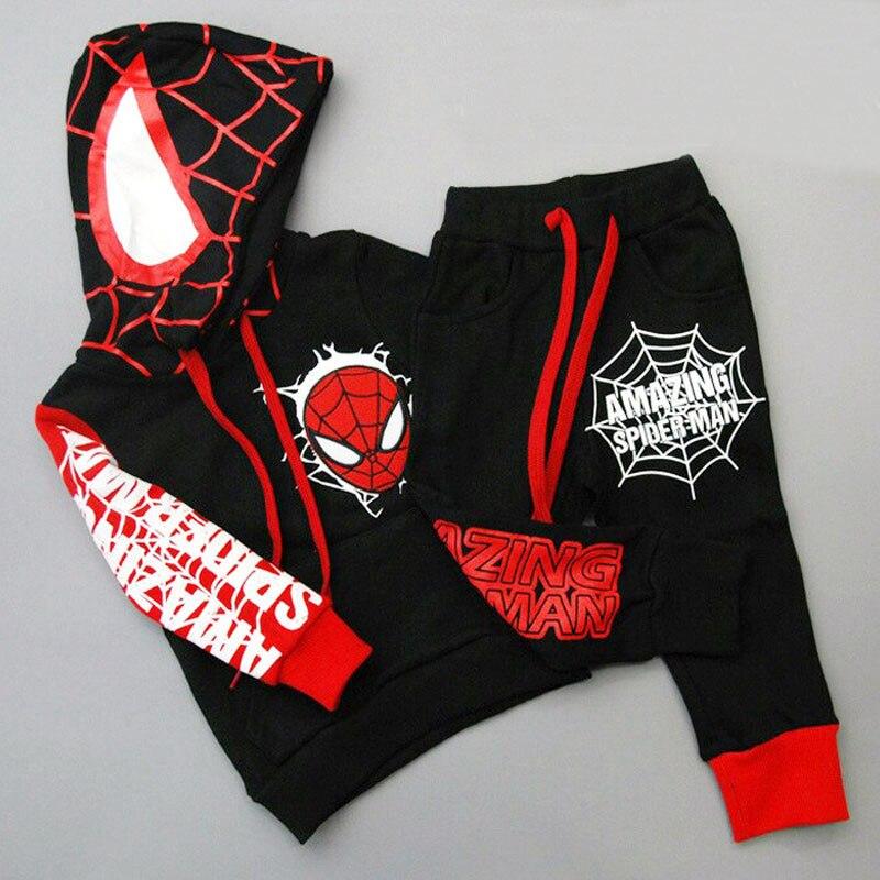 Homem Aranha Spiderman Crianças Meninos conjunto de Roupas de Bebê Menino Ternos Esportivos 2-6 Anos Crianças 2 pcs Define Primavera outono Roupas de Treino