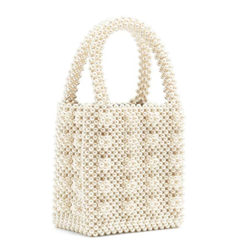 Pearls Bag Beaded Box Totes Bag Women Party Vintage Handbag 2019 Summer Luxury Brand White Hand
