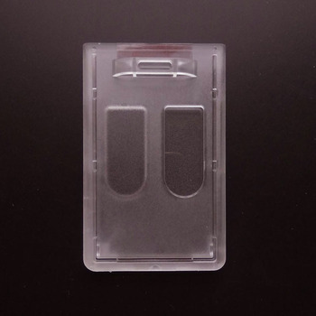 1pc Vertical Hard Plastic ID Badge Holder Double Card Cover Pocket Bus Card Case Business Bank Card Cardholder Passport & ID Holders