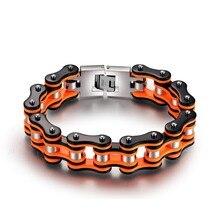 Лидер продаж оранжевый черный мотоцикл цепи браслеты одежда высшего качества 316L нержавеющая сталь для мужчин 16 мм ширина SDA ювелирны