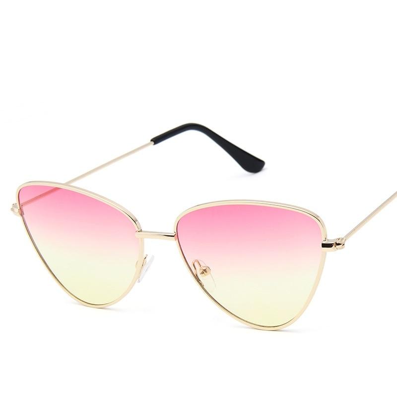 082fe78d9 Olho de Gato do vintage Óculos De Sol Mulheres Lente Espelho Óculos de Sol  da Cor