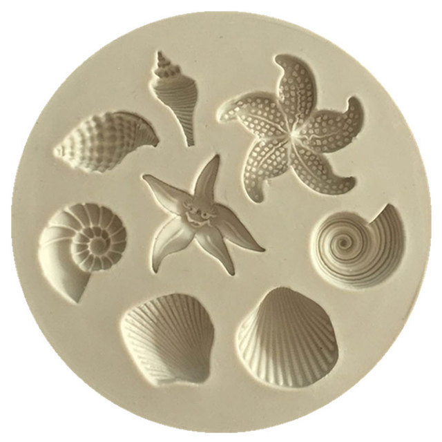 Cake Decoration Tools DIY Sea Creatures Conch Starfish Shell Fondant Cake Candy Silicone Molds Creative DIY Chocolate Mold