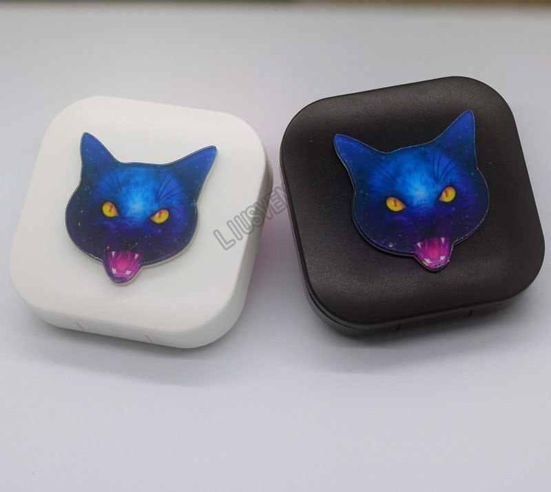 LIUSVENTINA DIY Acrílico Bonito Gato de Estimação Gato Fantasma Caso Lente de Contato Com Espelho Recipiente Caixa de Lente de Contato para Presente para crianças