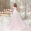 Rosa Vestidos De Noiva Meninas Vestido De Tule Uma Linha de Apliques de Renda V Pescoço Vestido De Noiva De Renda Sem Encosto Gelinlik Trouwjurk 2017