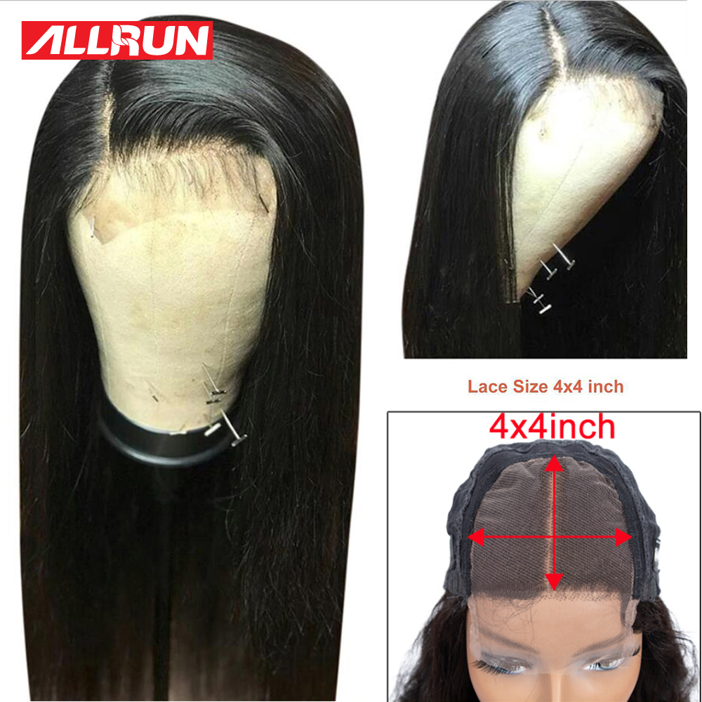 Brazilian 4x4 Closure Wig Lace Front Human Hair Wigs Straight Lace Front Wig Per Plucked With