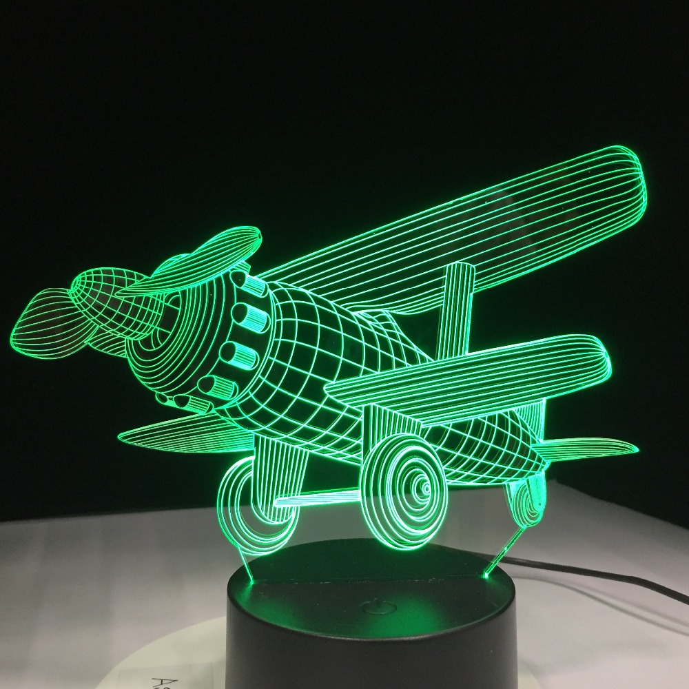 Acrylic Airplane LED Light Modern Kids Bedroom Night Lamp Decorative Home Indoor Lighting 3D Illusion 7 Colorful Change Lamp image