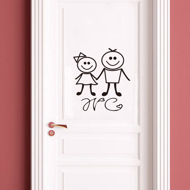 New 2019 Wall Sticker for Toilet Door Waterproof Stickers Bathroom Decor house Family Home Decoration mural WC wallpaper