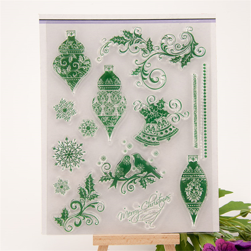 High quality scrapbooking DIY photo cards about christmas flowers silicon stamps transparent stamp for Christmas gift RM-107 1box lot christmas gift christmas season organ folding christmas cards paper crafts scrapbooking cards gifts decoraiton