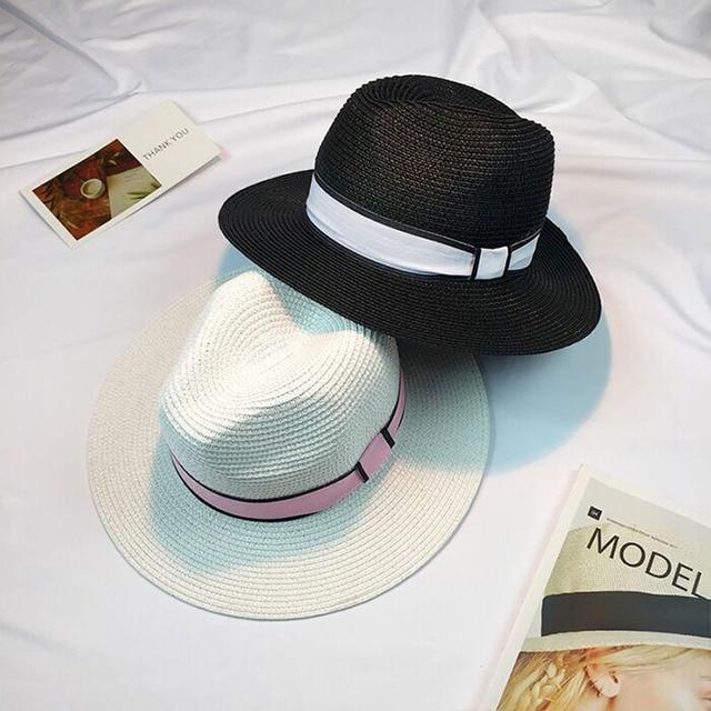 2017 Nuovo Sole di Estate del Cappello delle Donne Bowknot Del Nastro Nero  Briglia Cappello di 5ddb6557b73b