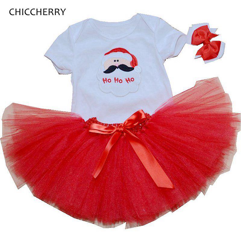Santa Baby Girl Christmas Outfit Set Tutu Children Girls 3 Piece Romper Tutu Skirt Toddler Tutus Party Dress Infant Clothing