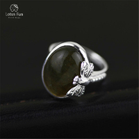 Lotus Fun 925 Sterling Silver Ring Oval Natural Labradorite Stone Handmade Dragonfly Adjustable Open Band Female Fine Jewelry