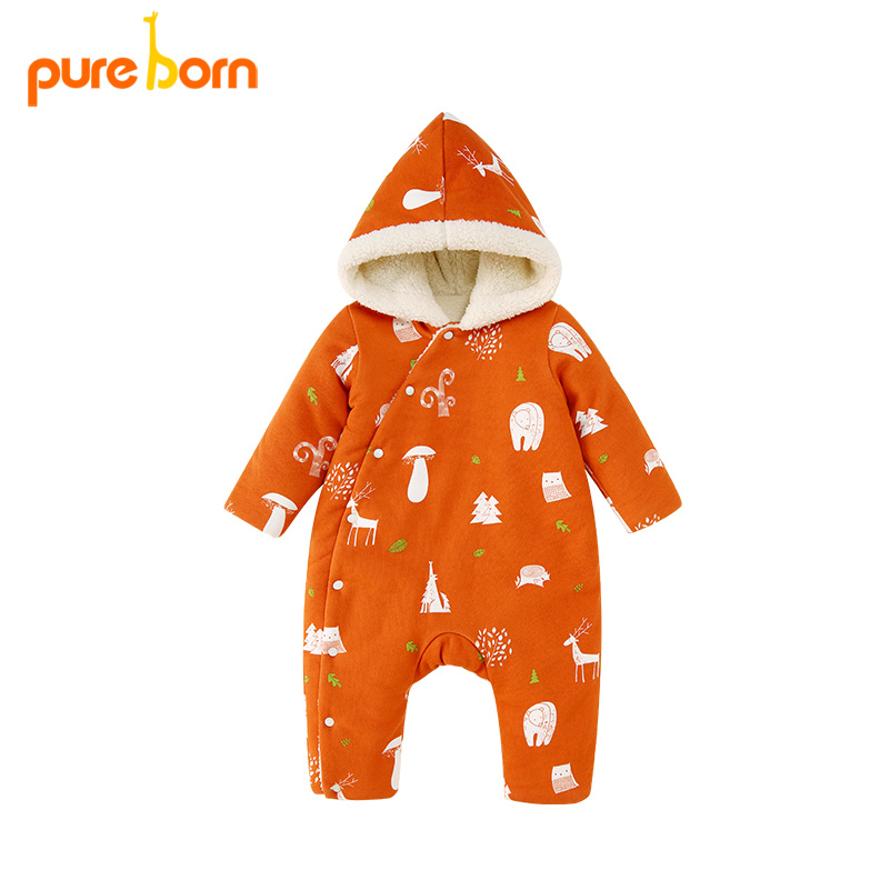 Pureborn Baby Winter Clothes Baby Romper Baby Boy Winter Clothes Toddler Christmas Baby Clothes Hooded Cotton Unisex Romper