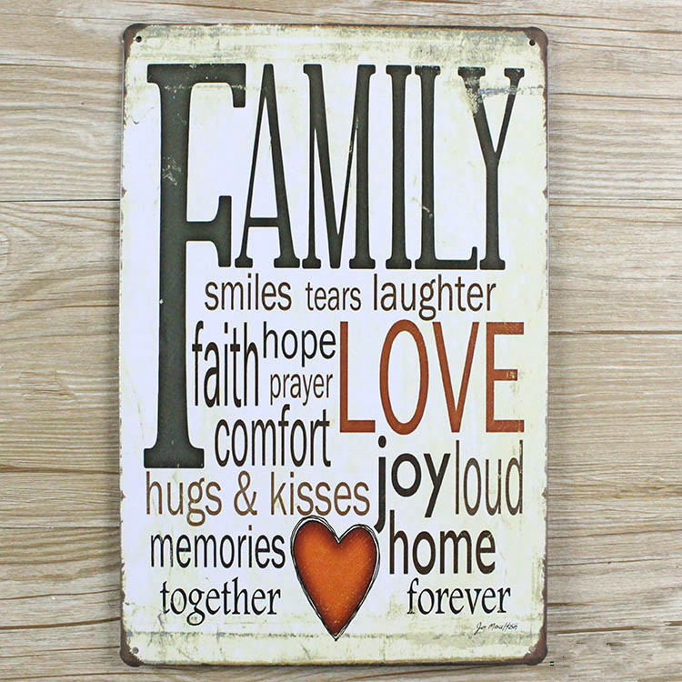 Family Love Letters Slogan Vintage Home Decor Metal Tin Signs Malt
