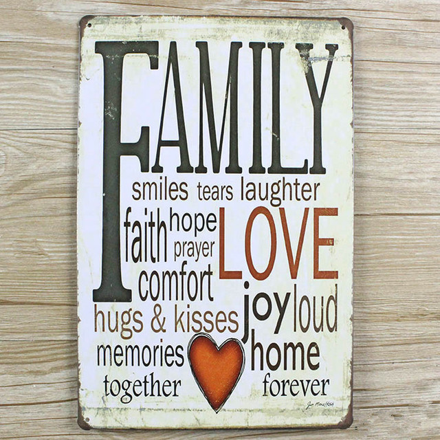 FAMILY LOVE letters slogan vintage home decor metal Tin signs malt ...