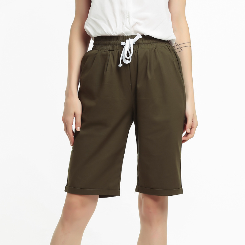 Summer knee length pants new stylish female large size pants women loose short pants female FC2201 in Pants amp Capris from Women 39 s Clothing