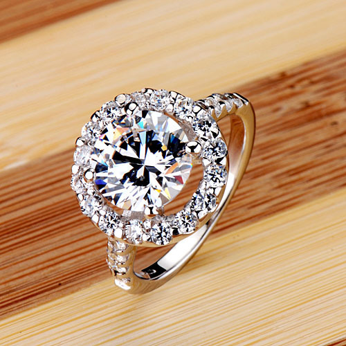 big heart shape 3 ct nscd synthetic stone wedding rings sterling sliver jewelry engagement ring promise - Stone Wedding Rings