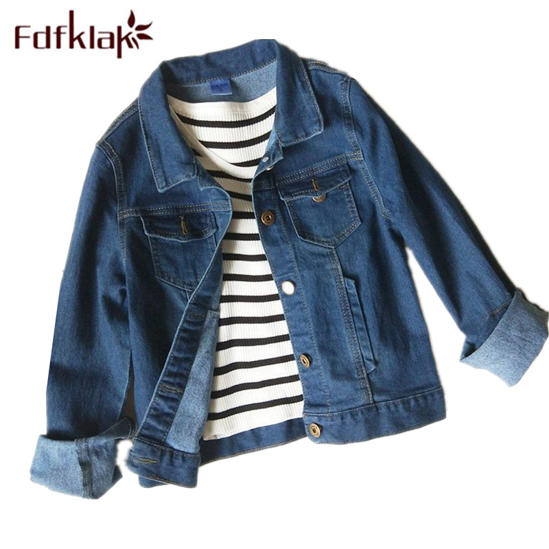 Fdfklak M-3XL Plus Size Female Jacket Spring Autumn Befree Denim Jacket For Women Basic Coats 2018 New Deep Blue Outwear Q1117