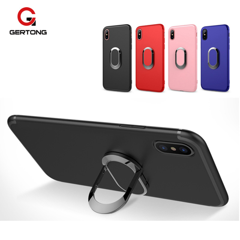 GerTong Case For iPhone 6 6S 7 8 X Plus Coque Capa Phone Bag Shell Cover Ring Soft TPU Magnetic Matel Funda For iPhone 6 S Armor