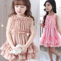 New 2016 girl school dress Children dress stitching yarn bubble tutu dress khaki/pink 2-7 years old toddler girls dress