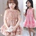 Nuevo 2016 de la escuela niña de vestido de Los Niños vestido de costura de hilo burbuja tutu vestido de color caqui/rosa 2-7 años de edad niño vestido de las muchachas