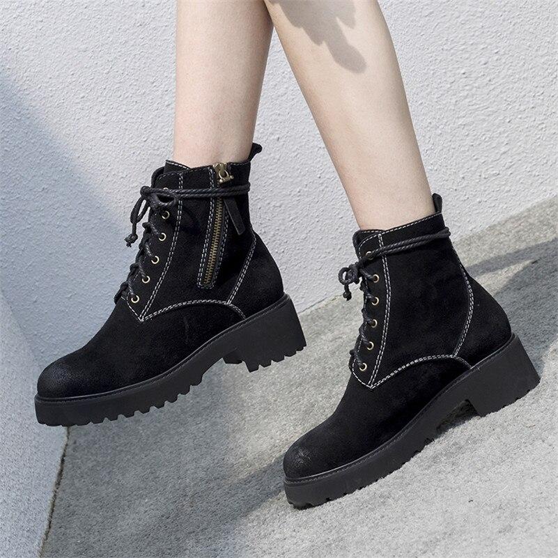 Nuit Chaud Femmes Martin Club Chaussures 3cm Daim Vache Punk Lacent Hauts Femme Bottes Moto Conasco 5cm Dames Date Talons Cheville zwv5aZq