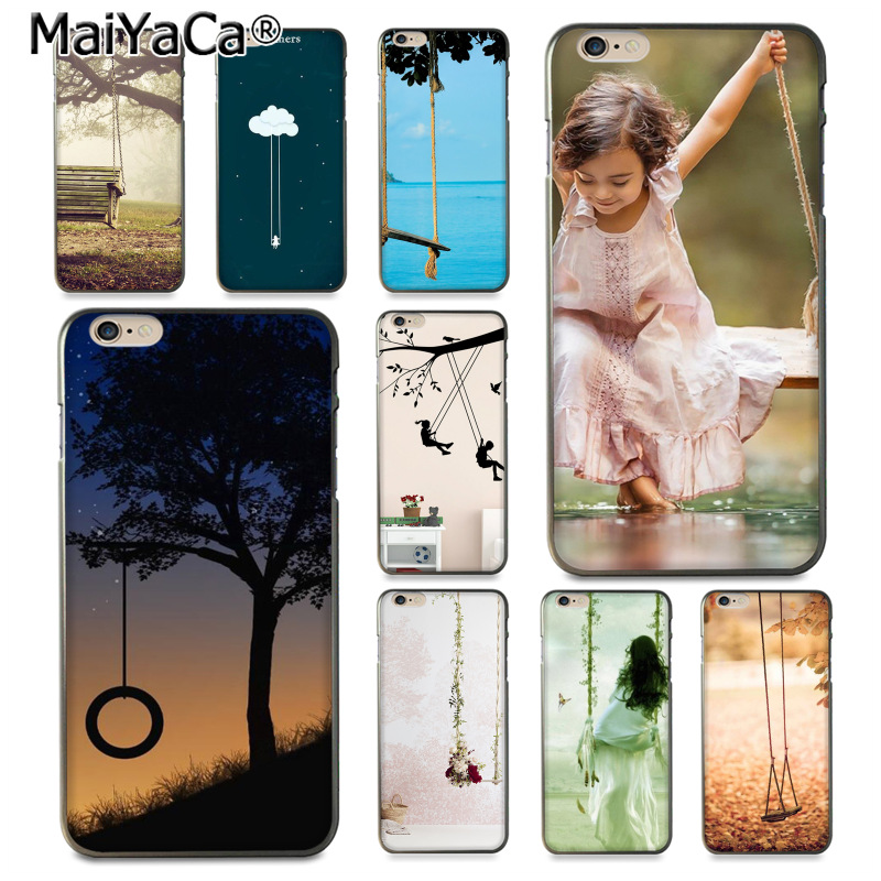 Maiyaca lancape качели девушка-с-качели дизайн кожи тонкий ПК cell чехол для iphone 8 7 6 6 S Plus x 10 5 5S SE 5C Coque В виде ракушки