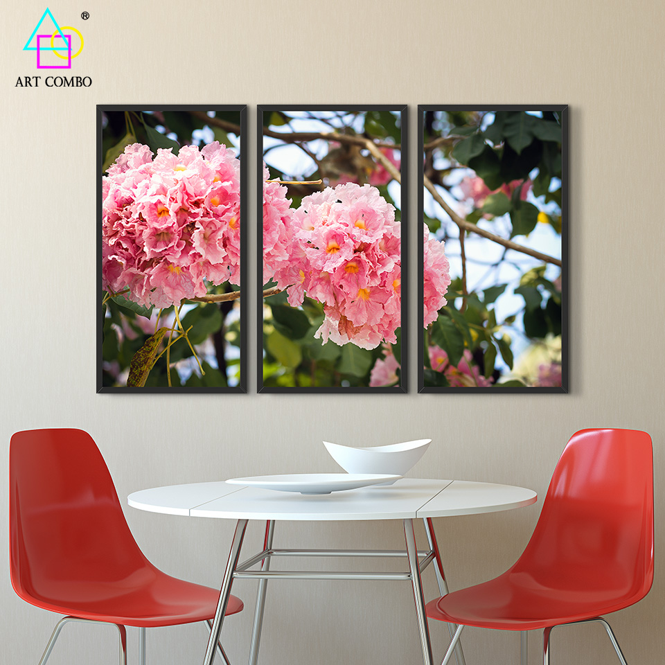 3 panels canvas printings painting beautiful blooming flowers artwork home wall decor picture rectangle cotton no frame 3t010